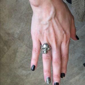 Silver skull rose ring goth hot Topic biker evil